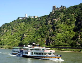 The Castles Liebenstein and Sterrenberg and tour boat Goethe on the Rhine River