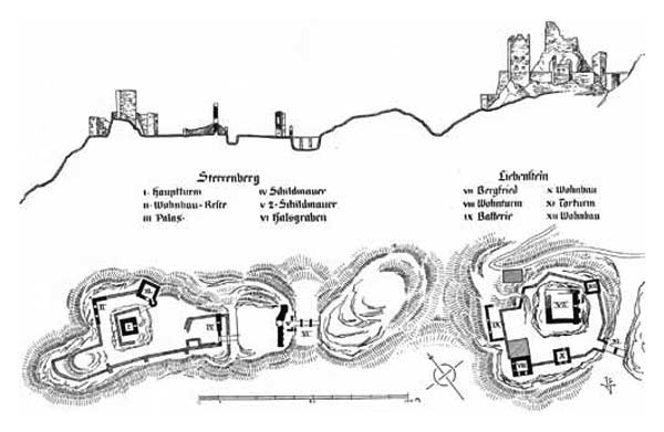 Layout of the castle grounds of Castle Liebenstein and Castle Sterrenberg