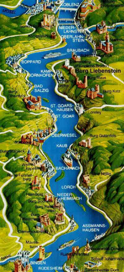 Rhine river map with 30 Rhine castles, Castle Hotel Burg ...